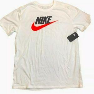 Nike Tee T-Shirt Mens Size XL White Swoosh Logo